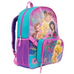 Disney Fairies Backpacks - Tinkerbell & Friends Girls Backpack with Detachable Insulated Lunch Kit 16 Inch