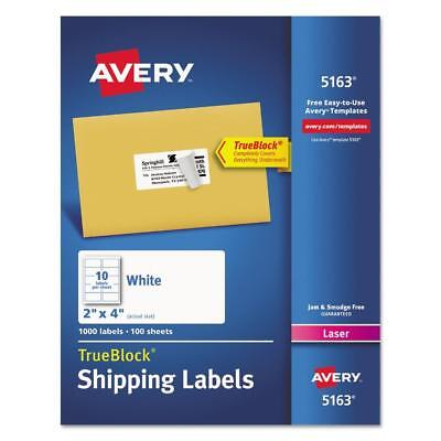 Avery Shipping Labels Trueblock Technology Laser 2 X 4 White 1000 In Box 5163