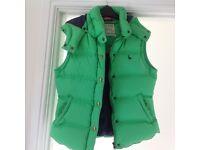 Ladies green Jack Wills gilet size 10