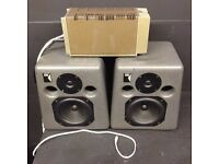 KRK K-ROK STUDIO MONITORS SPEAKERS & QUAD 303 POWER AMP VINTAGE PREAMP POWERAMP + CABLES WIRES