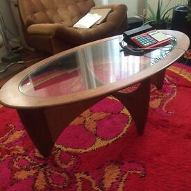 60s 70s MID CENTURY MODERN oval COFFEE table TEAK wood VINTAGE retro DANISH