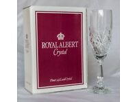 "8 Boxed Vintage Royal Albert Crystal ""Victoria"" Champagne Flutes (Boxed)"
