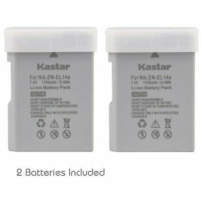 2x Kastar Battery for Nikon EN-EL14a D3100 D3200 D3300 D3400 D5100 D5200 D5300