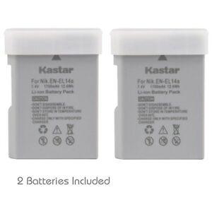 2x Kastar Battery for Nikon EN-EL14a D3100 D3200 D3300 D3400 D5100 D5200 D5300