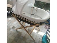 Moses basket with stand, sheets, cover and a baby bath