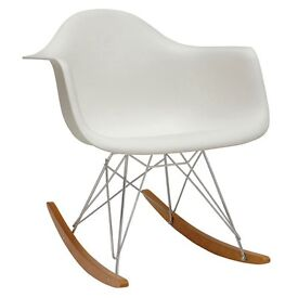 White Eames style rocking chair