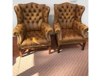 Leather club armchairs Queen Anne style pair of chairs 1970's