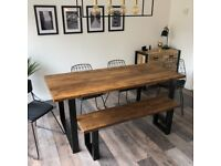 Reclaimed, Rustic Dining/Kitchen Table & Benches. Industrial Metal Legs.