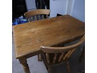 Solid Pine Dining Table and Two Chairs