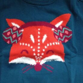 Girls Peacock Top From Cherokee Fox Jumper Size 7-8 Years BNWT