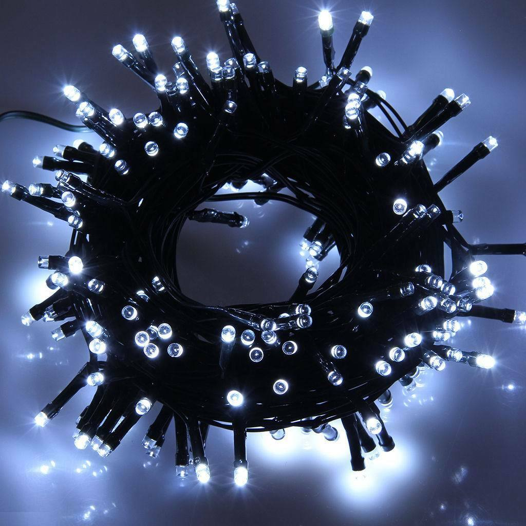 100 LED 10M Kaltweiß Lichterkette Vorhang Garten Beleuchtung ...