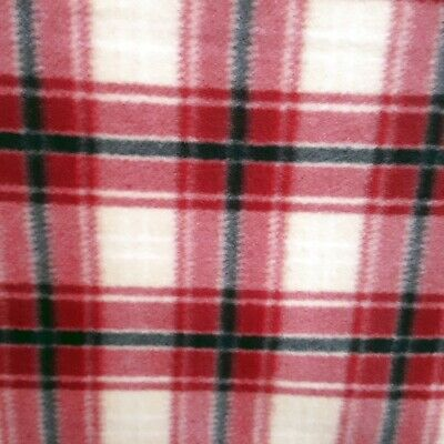 - Fleece Fabric RED IVORY BLACK TARTAN PLAID PRINT BLANKET FABRIC  60