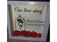 """Shadow box """"our love story is as old as time"""""""