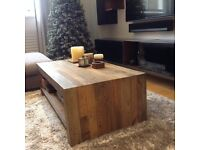 Coffee Table, reclaimed wood, hand crafted, rustic natural finish, excellent condition