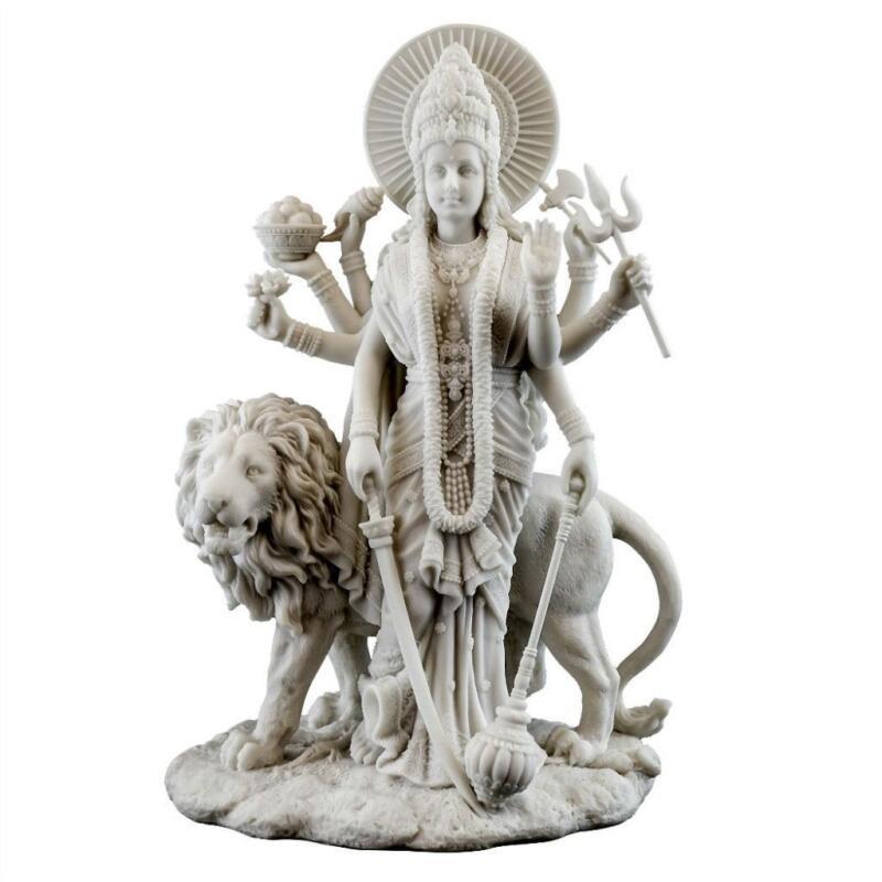 "DURGA STATUE 11"" Hindu Divine Mother Goddess Deity White Marble Finish Resin"
