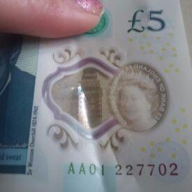 Rare five pound note.