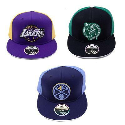 NBA Hat Cap Flat Brim Visor Flex Fit Wool Adidas Fitted Lakers Celtics Nuggets Flat Brim Fitted Wool Cap