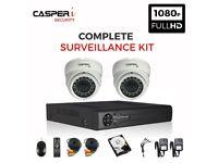HD 4CH DVR kit with 2 x VARIFOCAL CCTV 1080p Dome Cameras 30m IR 2.8-12mm LENS