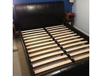 *KING SIZE BED FRAME* Leather sleigh bed style. Ready for collection. Excellent condition. £75 ONO