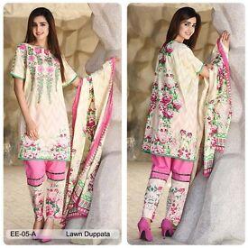 Emaan Eshaal Pakistani Original Designer Salwaar Kameez Cotton Lawn Embroidered #5A Vol-01