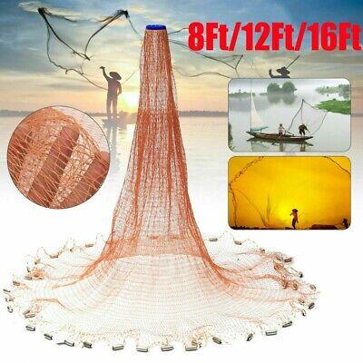 Dia 8Ft/12Ft/16Ft Heavy Duty Fishing Cast Net Bait EasyThrow Hand Trap Line Mesh
