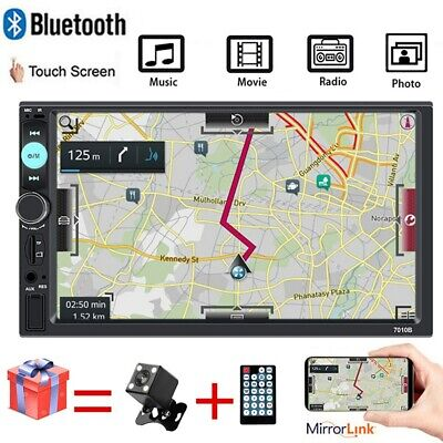 "7"" 2 DIN Car Stereo Radio BT Android/IOS Mirror Link MP5 FM AUX-IN + Free Camera"
