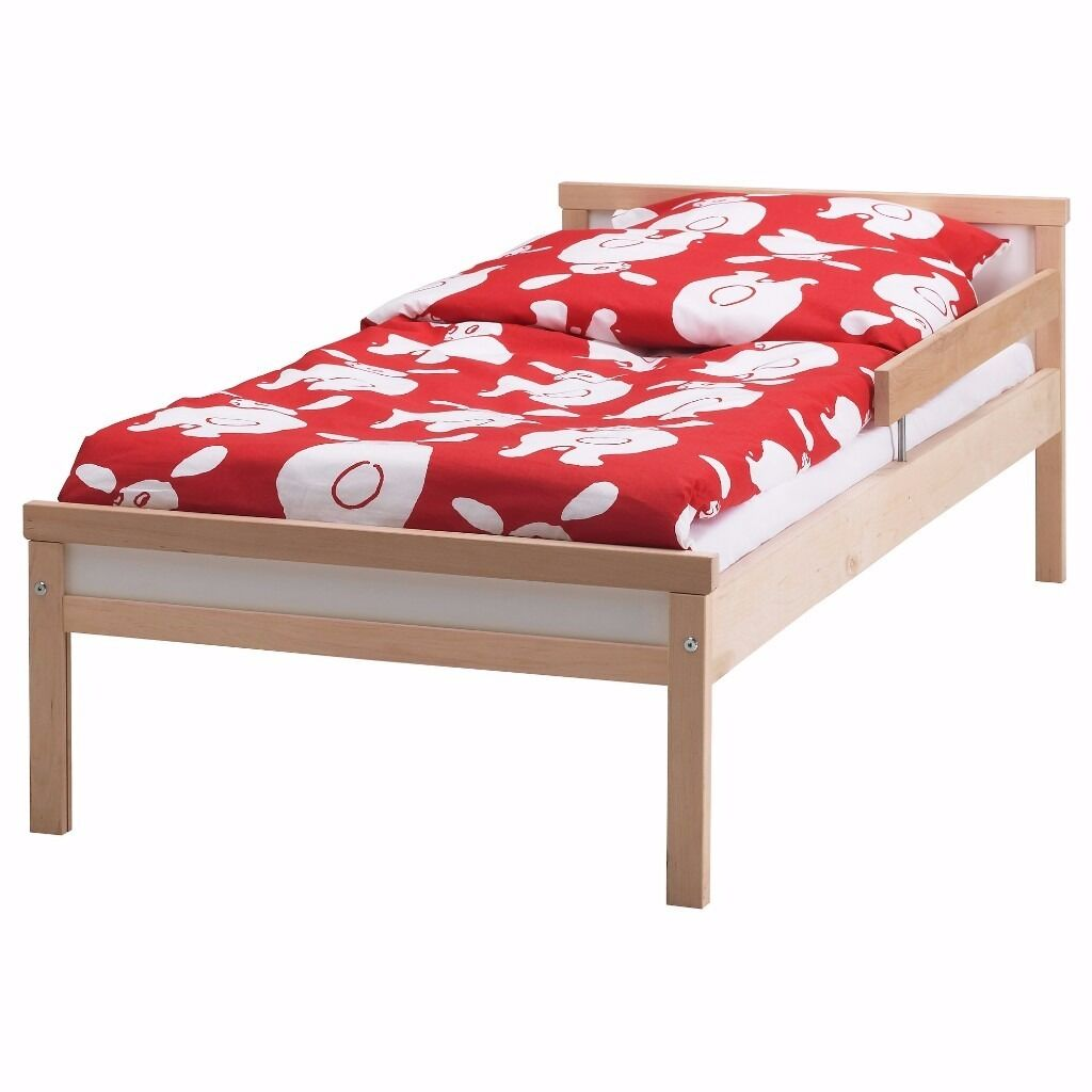 IKEA Bed frame with slatted bed base SNIGLAR Beech with Mattress (USEDin Sheffield, South YorkshireGumtree - Condition USED Avalibility 9/11/2016 KEY FEATURES Solid wood, a hard wearing natural material. Slatted bed base for good air circulation. The guard rail prevents your child from falling out of the bed. ASSEMBLED SIZE Length 165 cm Width 77 cm...