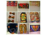 Colourful hand-made african accessories, bags, slippers, purses, rucksacks etc