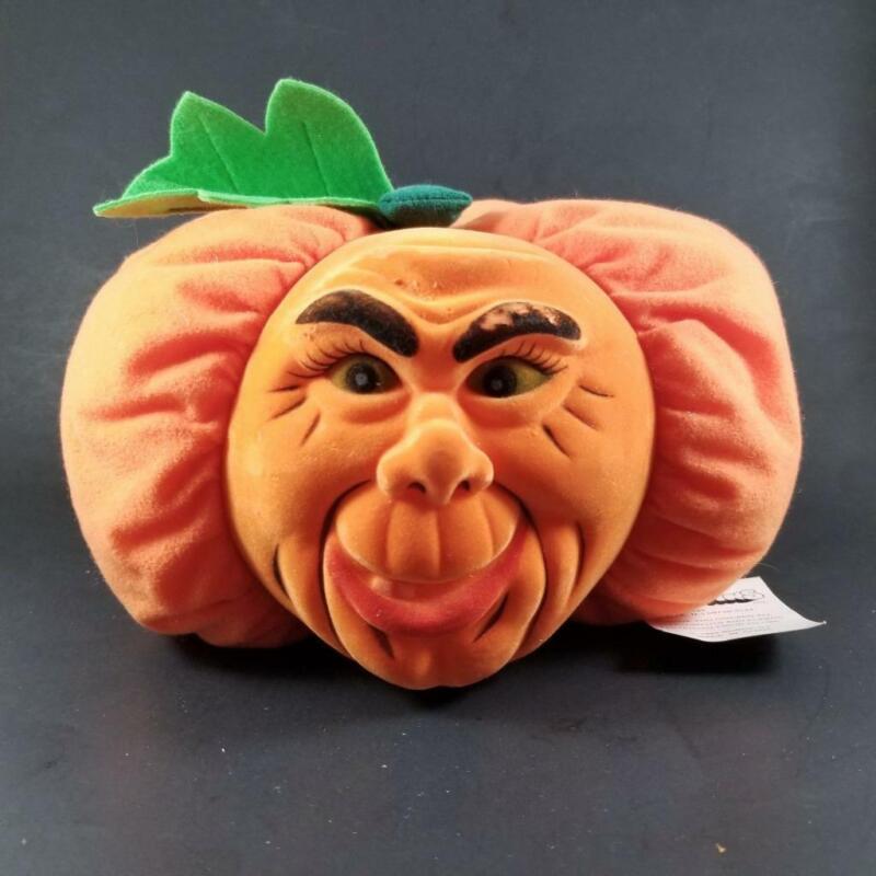 "Rare Vtg 1997 Stuffins Halloween Pumpkin Plush Flocked Face Jack O Lantern 10"""