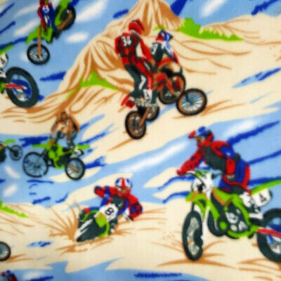 """Fleece Fabric MOTOCROSS BIKES PRINT SPORTS TOSS 60"""" Wide DIRT BIKE PRINT TOSS"""