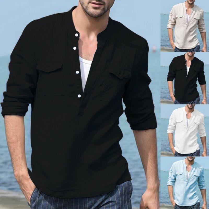 Men's Baggy Cotton Linen Pocket Stand Collar Long Sleeve T S