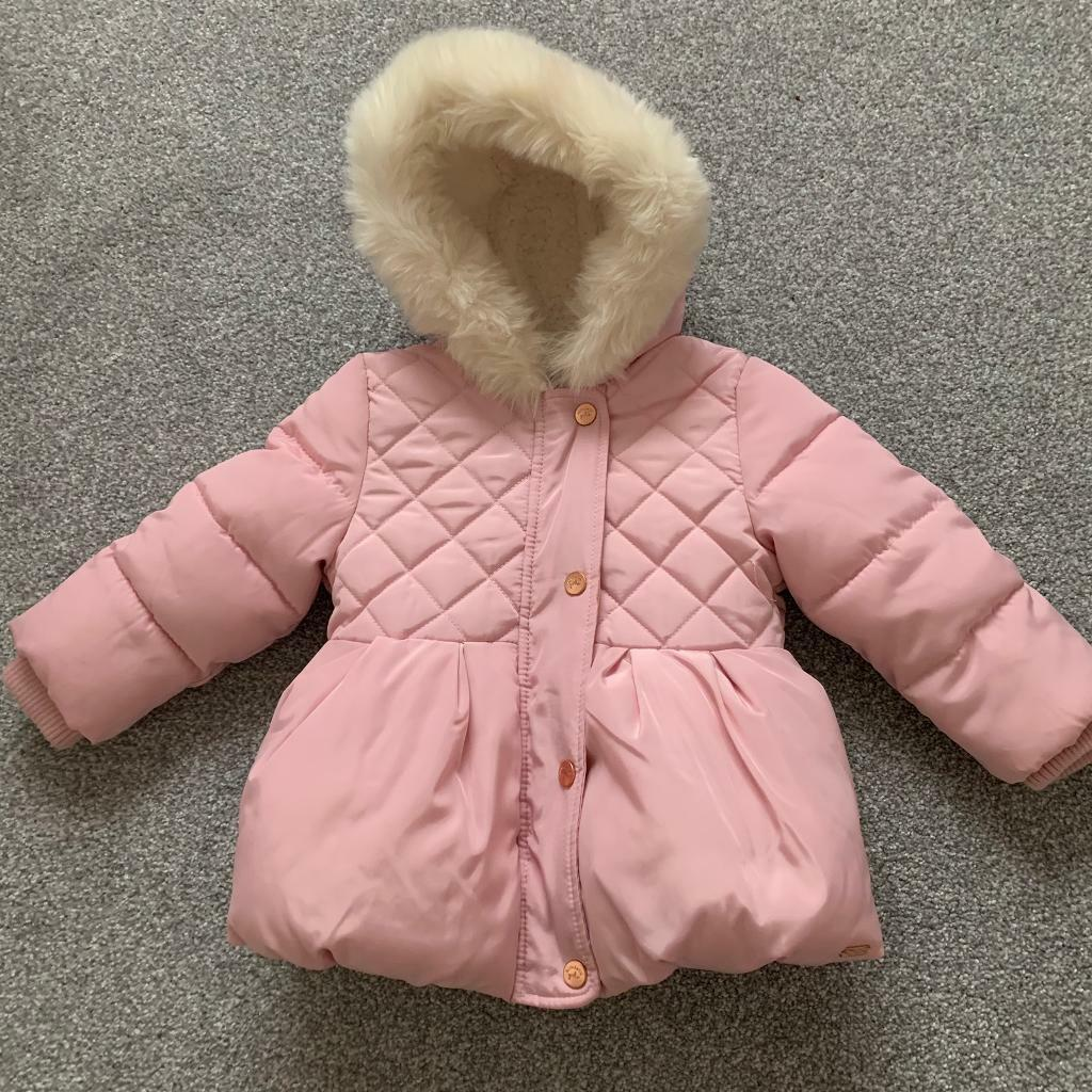 14dfbb8f2691 Mothercare white fur pink coat jacket 9-12 12-18 months