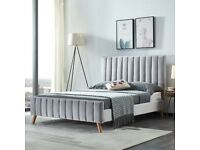 LIMITED STOCK OFFER= PLUSH VELVET FABRIC HEAVEN DOUBLE BED FRAME GREY COLOR