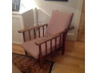 Vintage French oak chair. Reclines