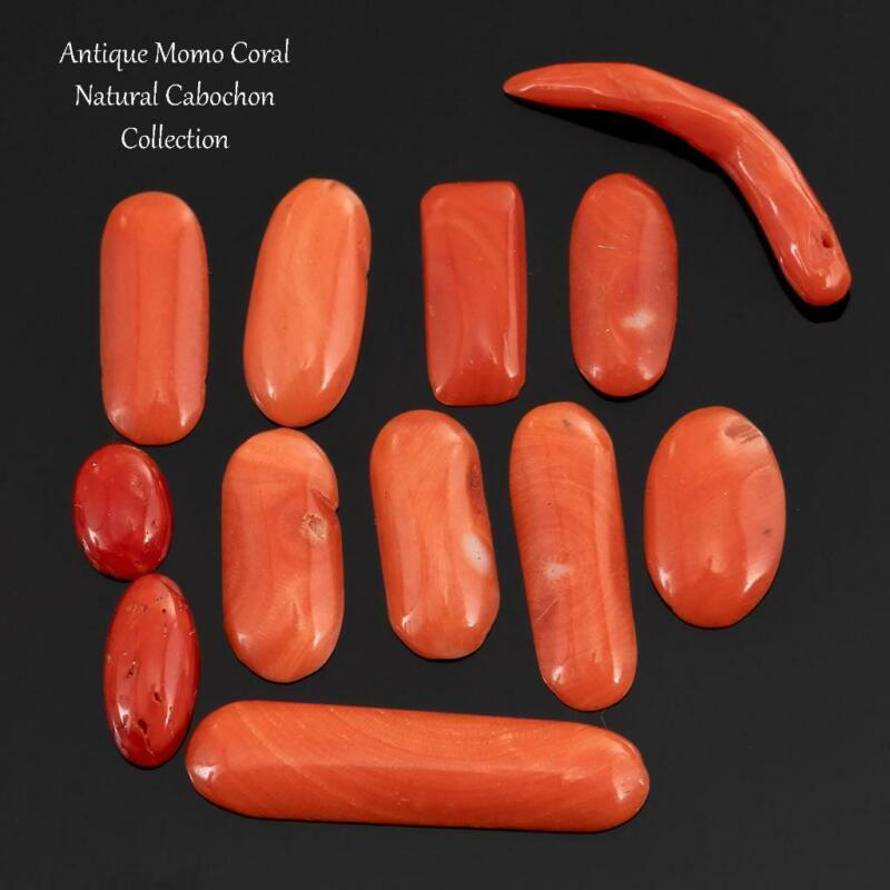 Antique Coral Cabochon Cab Victorian MOMO Natural LOT Ring or Necklace 25 ct