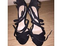 BLACK HEELS WITH STRAPS (UK SIZE 4)