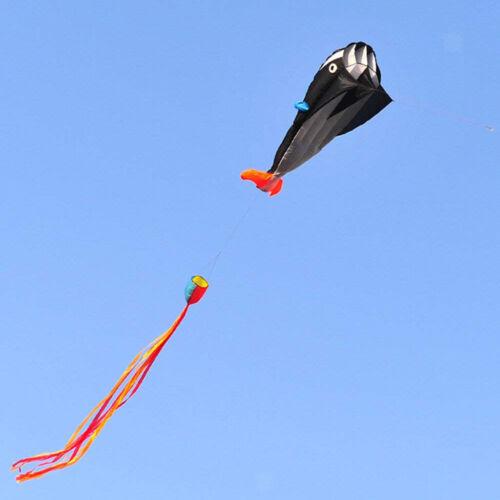 Frameless Soft Parafoil Kite Black Dolphin Kite for Kids Adu