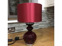 Red Next glass bubble bedside lamp