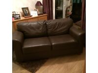 Brown Leather 2 Seat IKEA Sofa £80 ONO *Delivery Available*