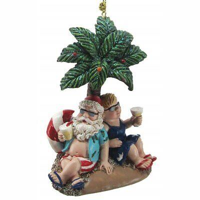 Mr. & Mrs. Santa Under a Palm Tree Resin Hanging Ornament Palm Resin Ornament