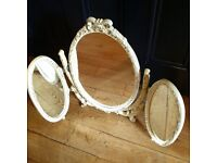Lovely Vintage French Louis Style Tri-fold Mirror.
