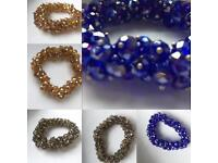 Beautiful Crystals Bracelets ,Grey,Amber & Blue
