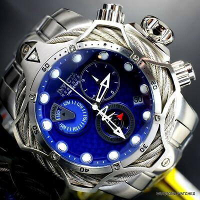 Invicta Reserve Venom Bolt Hybrid Blue Stainless Steel Swiss Mvt 52mm Watch New