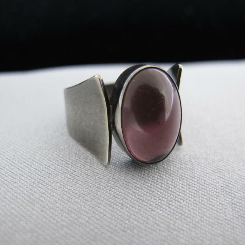 Vtg Israel Sterling Silver 925 Bezel Set Cabochon Amethyst Ring SZ 9 6.1g #J467