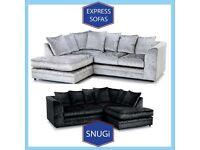 🙁New 2 Seater £169 3S £195 3+2 £295 Corner Sofa £295-Crushed Velvet Jumbo Cord Brand U9