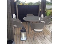 Quality rattan garden patio/conservatory table and 4 chairs with cushions £300 Ono tel 07966921804