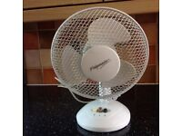 Desk fan with variable speed and oscillating feature