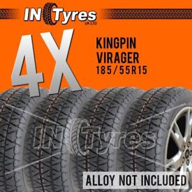 4x 185/55R15 Kingpin Virager Track Day Oval Drifting Stock Banger Racing Tyres