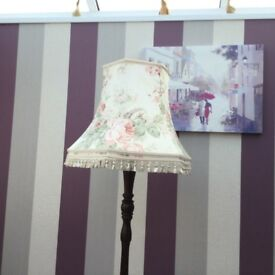 Standard Lamp. Dark wood stand with large flowered shade.