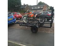 Galvanised Mesh Motorcycle Quad Buggy Mower Trailer With Drop Ramp